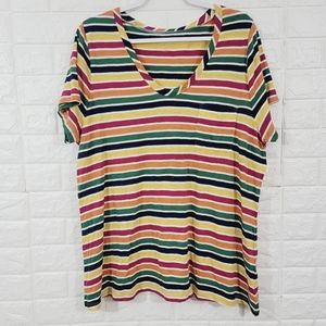 Caslon colorful striped everyday top.Size 2X